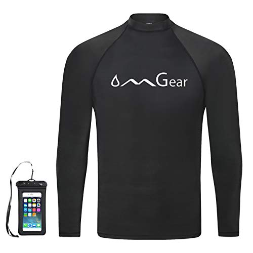 OMGear Rash Guard Swim Shirt Sun Block Short Long Sleeve Surf Tee Swimsuit Top