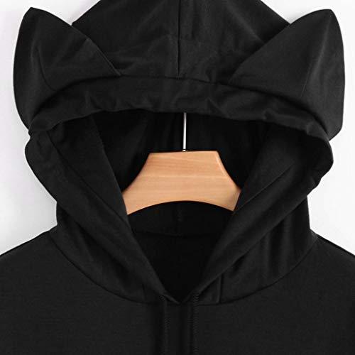 Shirt pour Manches Chemise Capuche Femme Manche Trydoit Sweat Courte Noir Femmes Longues Noir X5Cwqw