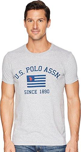 Straight Bottom Polo Top - U.S. Polo Assn..  Men's USPA Flag 1890 Crew Tee Medium Heather Grey Small