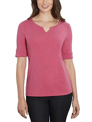 (ELLEN TRACY Women's Pima Cotton/Lycra V-Neck Cuff Sleeves T-Shirt (XX-Large, Raspberry))