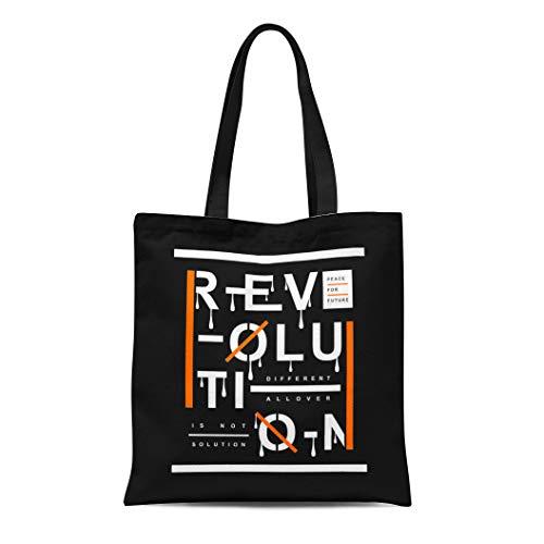 - Semtomn Canvas Tote Bag Shoulder Bags Royalty Garment Revolution Slogan Artistic Graphic Kids Urban Abstract Women's Handle Shoulder Tote Shopper Handbag