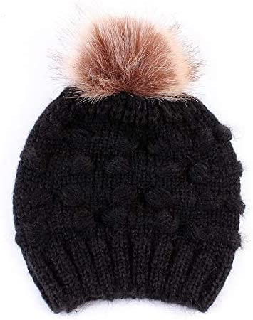 Elk On Snowy Day Winter Warm Hats,Knit Slouchy Thick Skull Cap Black
