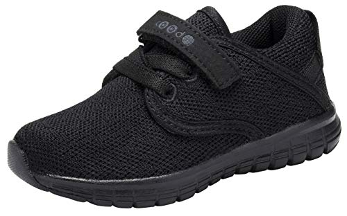 COODO Toddler Kid's Sneakers Boys Girls Cute Casual Running Shoes (5 Toddler,All Black)