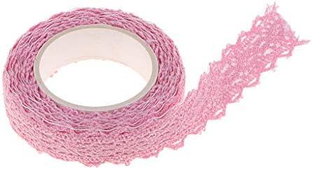 生地テープ レース和紙テープ トリムテープ パーティー デコレーション 自己接着 全8色 - ピンク