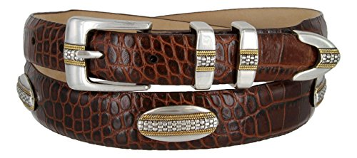 St. Andrews Gold - Italian Alligator Embossed Golf Belt with Conchos (Alligator Brown, 36)