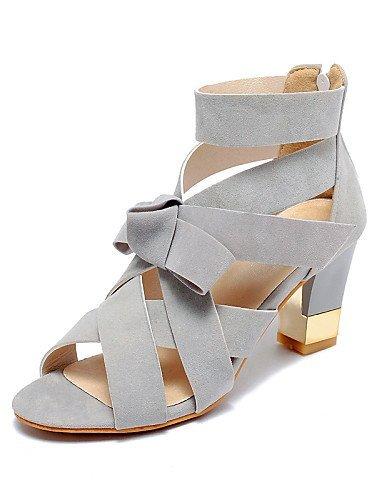 ShangYi Women's Shoes Leatherette Chunky Heel Heels / Open Toe Sandals Casual Black / Pink / Gray Grey xKG84cNCy