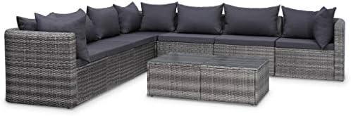 vidaXL Set Muebles de Jardín y Cojines 8 Piezas Ratán Sintético Hogar Mobiliario Exterior Decoración Casa Hogar Asientos Mesas Sofás Sillones Gris: Amazon.es: Hogar
