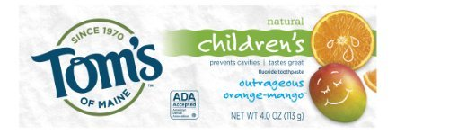 Tom's of Maine Natural Care Fluoride Toothpaste, Anticavity, for Children, Outrageous Orange Mango, 4 oz (113 g) by Tom's of Maine