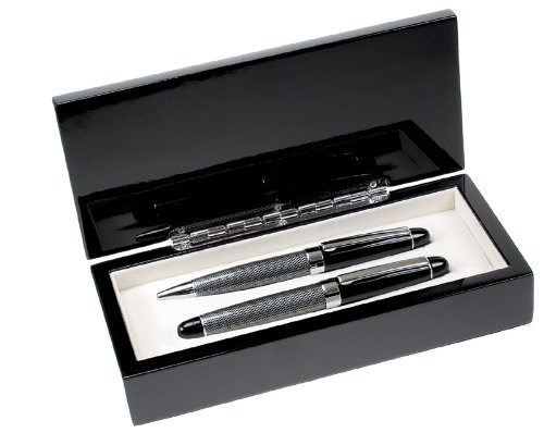 Executive Gift Shoppe | Personalized Collection Pen Set | Ballpoint & Roller Ball Pens | Two Tone Design with Carbon Fiber Finish | Free Custom Engraving | Perfect Business Gift | Solid Black Wood Box