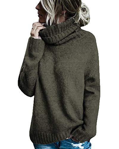 Beautife Womens Sweaters Casual Turtleneck Long Sleeve Soft Knitted Sweater Pullover (Large, Army Green)