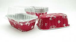 Disposable Aluminum Holiday 1 lb. Mini Loaf Pans with Clear Snap on Lid #9302X (25)