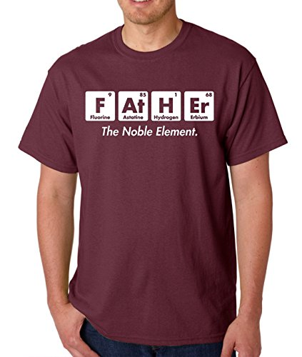 AW Fashions Father The Noble Element - Gift for Dad Funny Chemistry Elements Premium Men's T-Shirt (X-Large, Maroon)