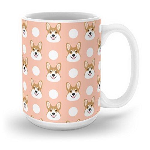 Coffee Blush (Society6 Corgi Polka Dots Peach Blush Pastel Pink Coral Welsh Corgi Iphone Case For Dog Lover Gifts For Dogs Mug 15 oz)