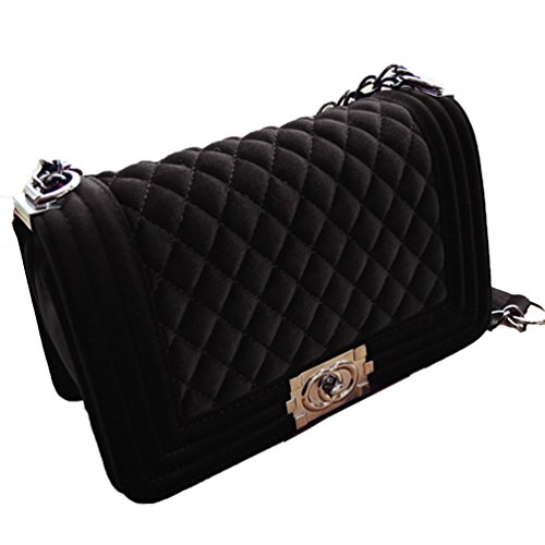 Elegant Style Chain Shoulder Crossbody Velor Europian Bag Women's Black Purses wqYgFp6AO