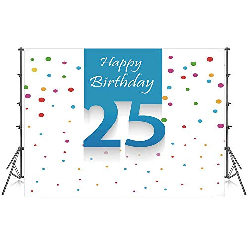 (25th Birthday Decorations Stylish Backdrop,Big Small Polka Dots Confetti Rain and Blue Square Hand Written for Photography Festival Decoration,59''W x 39''H)