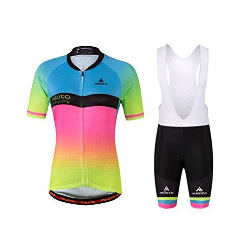 Uriah Women's Cycling Jersey Bib Shorts White Sets Short Sleeve Reflective Pink Green Size S(CN) (Womens Cycle Bib Shorts)
