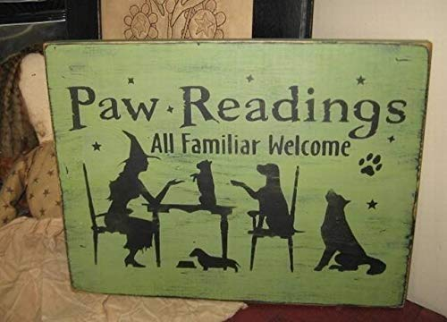 (Iliogine Wood Plaque Paw Readings Witch with Dog Puppies Hand Printed Primitive Wicca Halloween Fall Wall Decor Wood Sign for Home Living Room Gardern Sign)