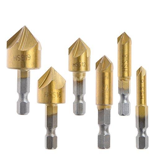 QLOUNI 6 Pcs Countersink Drill Bit 1/4