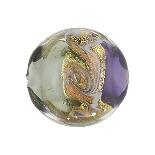 Purple and Gray with Aventurina and 24kt Gold Foil Mare Disc 20mm Murano Glass Bead Handmade Lampwork