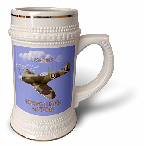 - 777images Digital Painting - Classic Airplanes - Supermarine Spitfire. British Royal Air Force fighter WW2 in battle colors - 22oz Stein Mug (stn_234404_1)