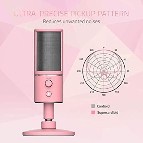 Razer Seiren X USB Streaming Microphone: Professional Grade – Built-in Shock Mount – Supercardiod Pick-Up Pattern – Anodized Aluminum – Quartz Pink