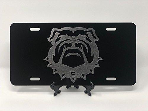 UGA Georgia Bulldog New Logo Car Tag Diamond Etched on Aluminum License Plate