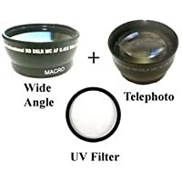 Wide Lens + Tele + UV for Sony HDR-CX350V, Sony HDR-CX350VE, Sony HDR-CX350, Sony HDR-CX350E