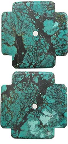 Genuine Turquoise 38x38mmCarved Cross Focal Pendant Bead
