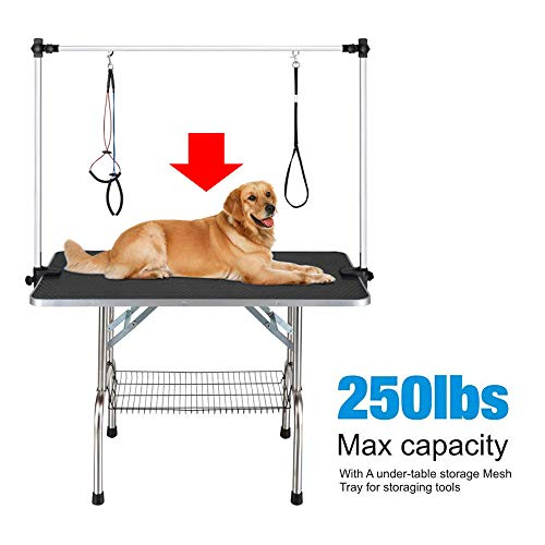 46'' x 24'' Professional Adjustable Heavy Duty Dog Pet Grooming Table W/Arm & Noose & Mesh Tray,Maximum Capacity Up to 250LB by Haige Pet Your Pet Nanny (Image #2)