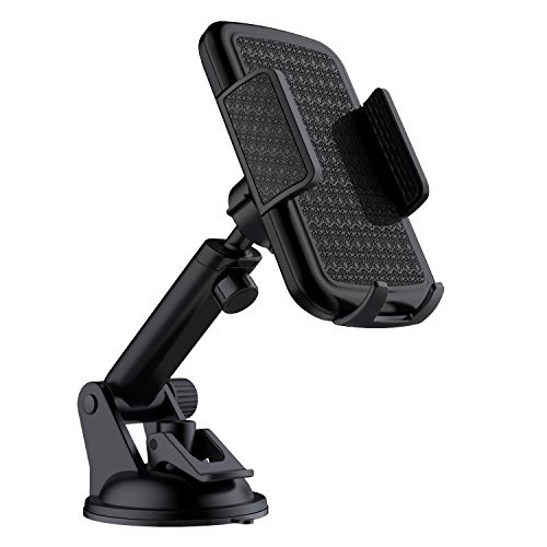 VETOMILE Car Mount, Windshield Dashboard Extendable Arm Car Phone Holder with 360 Degrees Rotation and Strong Sucker for iPhone X/8/7/7P, Sony, Huawei,Samsung