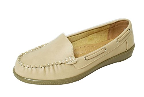 Lacci Delle Donne Morbide Fibbie Traforate In Ecopelle Mocassino Mocassino Slip On Shoes (wiwi) 01-beige