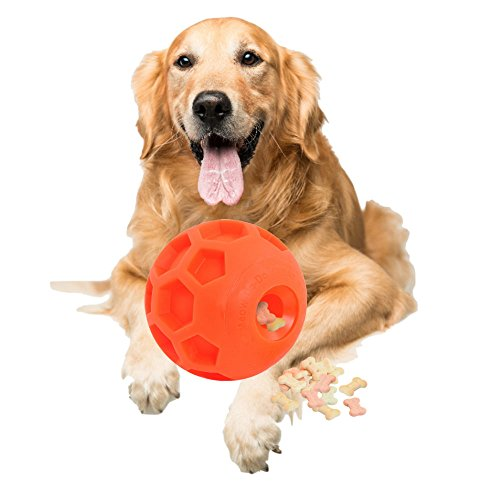 Tricky Treat Ball (Large Size Dog Treat Ball Interactive Treat Dispensing Dog Toy Pet IQ Treat Ball Made of Environmental and Non-Toxic Bite Resistant Material and 4.5 Inches in Diameter.)