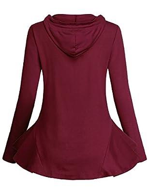 Cestyle Women Long Sleeve Flare Hem Peplum Tops Causal Hooded Shirt
