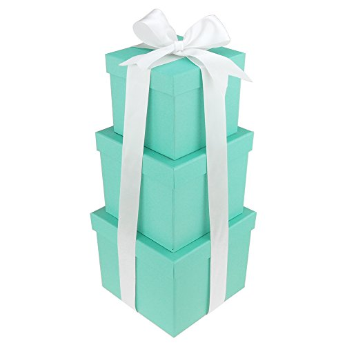 Robin's Egg Blue Nested Square Gift Boxes, 5, 6 and 7-Inch, 3-Piece