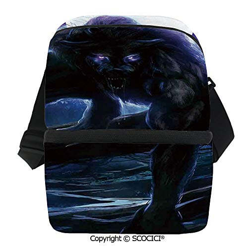 SCOCICI Thermal Insulation Bag Surreal Werewolf with Electric Eyes in Full Moon Transformation Folkloric Lunch Bag Organizer for Women Men Girls Work School Office -