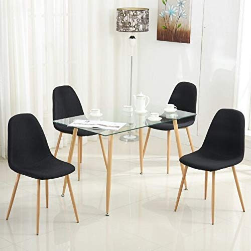 Mecor Dining Table Glass Top and Wooden Look Leg Modern Kitchen Table Rectangular by Mecor (Image #2)
