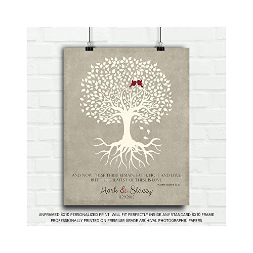 (1 Corinthians 13 Personalized Thank You Gift for Parents Faith Hope Love Gift for Mother of Groom or Bride Family Wedding Poem Tree Gift for Mom and Dad - 8x10 Unframed Custom Paper Art Print)