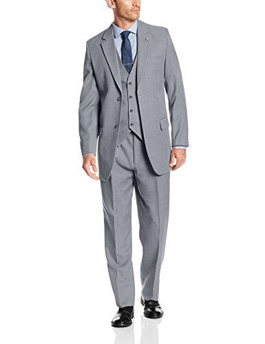 Stacy Adams Men's Suny Vested 3 Piece Suit, Light Grey, 42 Long