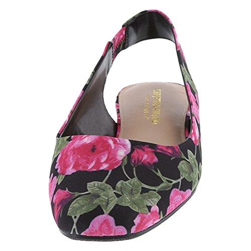 Christian Siriano Pour Les Femmes Sans Paye Bette Slingback Plat Noir Tissu Floral