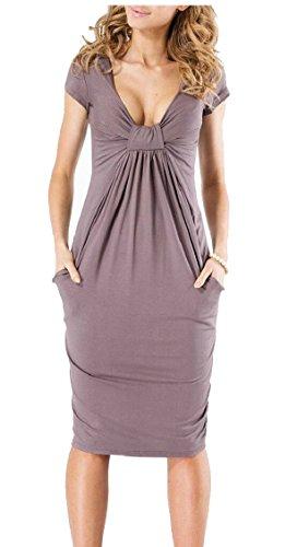 Short Pocket Party Womens Neck Coffee V Jaycargogo Sleeve Elegant with Midi Dress Sexy Ruched 15xwq77B