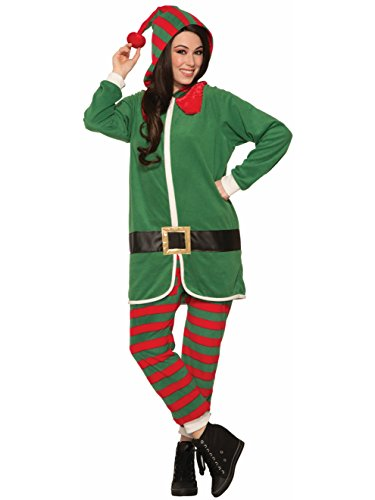 Forum Men's Elf Onesie Hooded Jumpsuit, Green/Red, (Male Elf Dress Up)