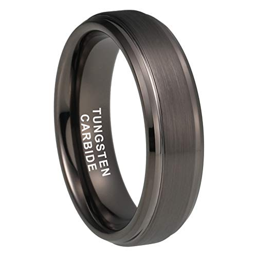 Cobalt Matte - iTungsten 6mm Gunmetal Tungsten Rings for Men Women Wedding Bands Stepped Beveled Edges Matte Finish Comfort Fit
