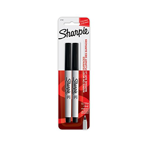 (Sharpie Ultra Fine Point Permanent Markers, Black Ink, Resists Fading and Water, Blister Pack with 2 Markers)