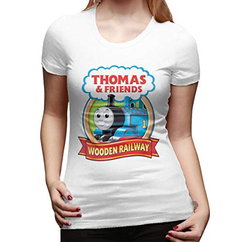 Seuriamin Thomas The Tank Engine & Friends Womens Casual Athletic Round Neck Short Sleeve T-Shirts Tops White ()