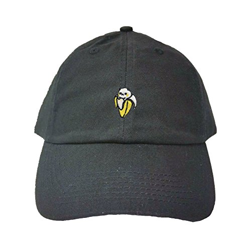 Adjustable Black Adult Cat Banana Embroidered Dad Hat