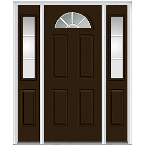 National Door Company Z005464L Steel, Brown, Left Hand In-swing, Exterior Prehung Door, Internal Grilles 1/4 Lite 4-Panel, 36''x80 with 14'' Sidelites by National Door Company