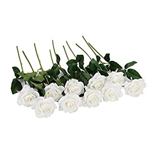 Duovlo Artificial Flower Rose Real Touch Long Stem for Wedding Baby Shower Table Centerpieces Outdoor Craft Decoration,Pack of 10 (White Flower) 64