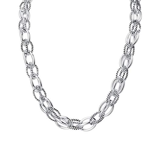 David Silver Yurman Necklace - UNY New Style Trendy Elegant Vintage Retro Unique David Fashion style 2 Tone Double Twist Wire Double Link Women Short Necklace (Silver)