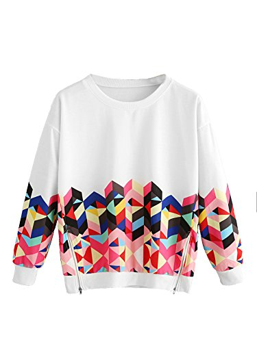 ROMWE Women's Color Block Long Sleeve Top Geo Print Zipper Side Sweatshirt Pullover Multicolor White M (Print Sweatshirt)