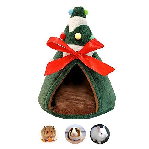 (Guinea Pig Bed, Fleece Small Animals Ferret Bed Accessories, Chinchilla Nest Hamster Mini House Cuddle Cup Christmas Habitat Supplies for Dutch Pig Squirrel Sugar Glider Hedgehog Rat Bearded Dragon)